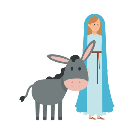 cute mary virgin with mule characters vector illustration design Banque d'images - 110297233