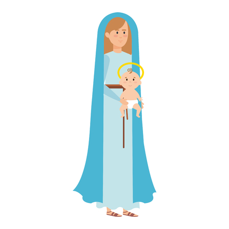 cute mary virgin with jesus baby characters vector illustration design Banque d'images - 110297234