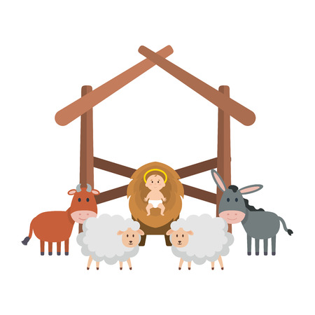 jesus baby in stable with sheeps and animals vector illustration design Illustration