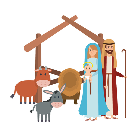 holy family with mule and ox manger characters vector illustration design