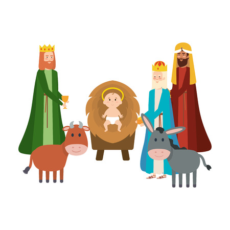 wise kings and jesus baby characters vector illustration design Illustration