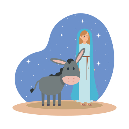 cute mary virgin with mule on night vector illustration design