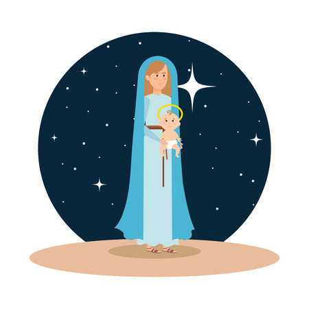 mary virgin with jesus baby on night vector illustration design Banque d'images - 110297244