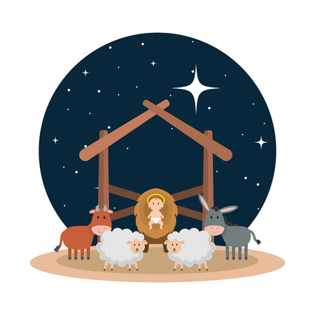 jesus baby in stable with sheeps and animals vector illustration design Illusztráció