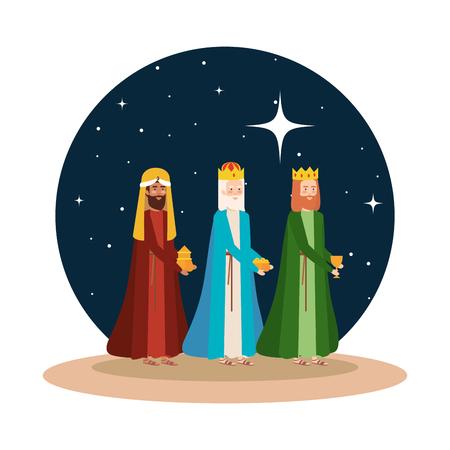 wijze koningen kribbe op woestijn nachtscène vector illustratie ontwerp