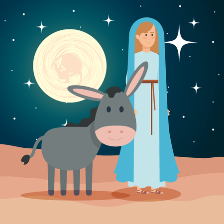 cute mary virgin with mule on night vector illustration design Banque d'images - 110297293