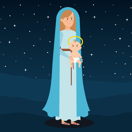 mary virgin with jesus baby on night vector illustration design Banque d'images - 110297296