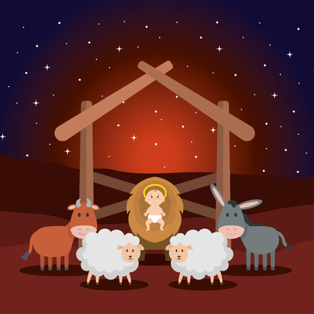 jesus baby in stable with sheeps and animals vector illustration design Stock Illustratie