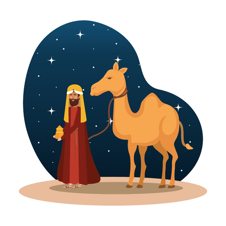 wise king with camel manger character vector illustration design