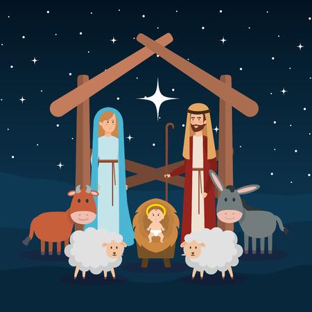 Sagrada familia con animales pesebre personajes, diseño de ilustraciones vectoriales