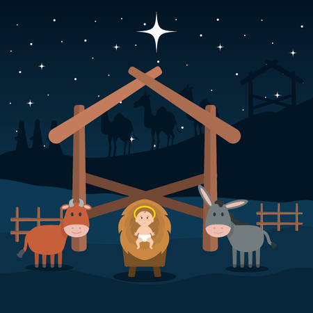 jesus baby in stable with mule and ox vector illustration design