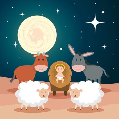 Jésus bébé dans stable avec des moutons et des animaux vector illustration design