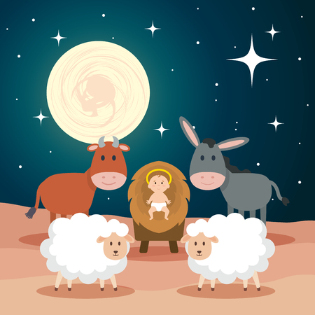 Jesús bebé en establo con ovejas y animales, diseño de ilustraciones vectoriales