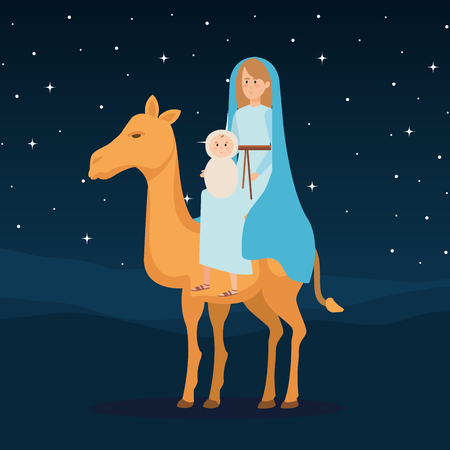mary virgin with jesus baby in camel vector illustration design Banque d'images - 110297309