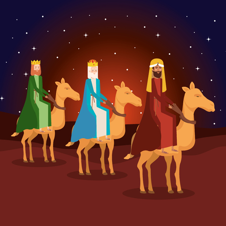 wise kings in camels manger characters vector illustration design