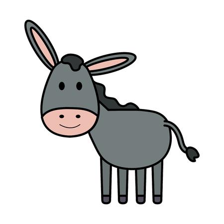 carino mulo mangiatoia personaggio illustrazione vettoriale design
