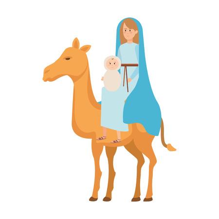 Marie vierge avec Jésus bébé dans la conception d'illustration vectorielle chameau