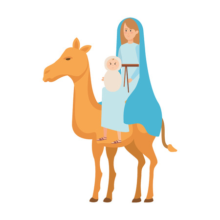 mary virgin with jesus baby in camel vector illustration design