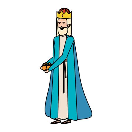 wijze koningen kribbe karakters vector illustratie ontwerp