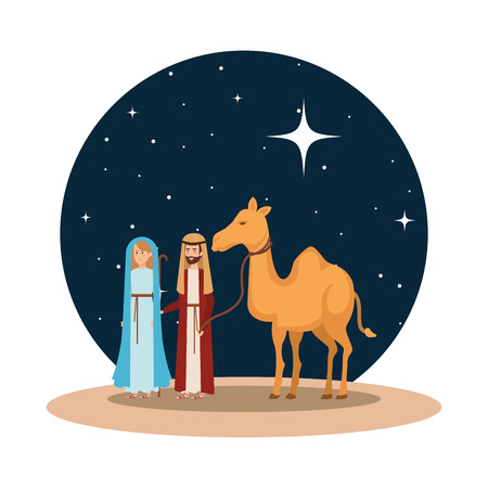 virgin mary and saint joseph with camel vector illustration design Banque d'images - 110314101