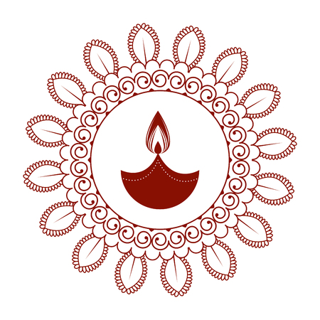 happy diwali card with candle and mandala vector illustration design