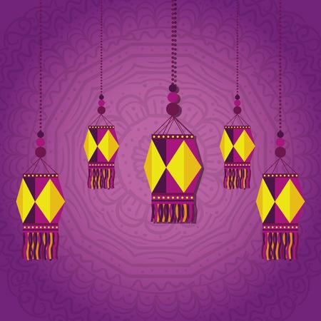 diwali lantern hanging with mandalas background vector illustration