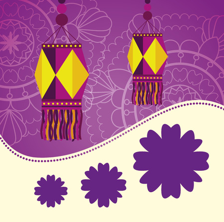 diwali lantern hanging with mandalas background vector illustration