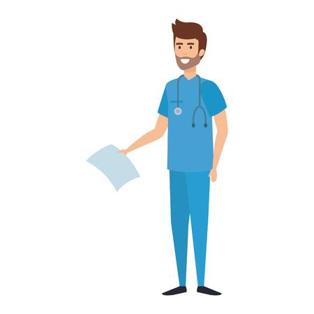 medico con stetoscopio e ordine medico illustrazione vettoriale design Vettoriali