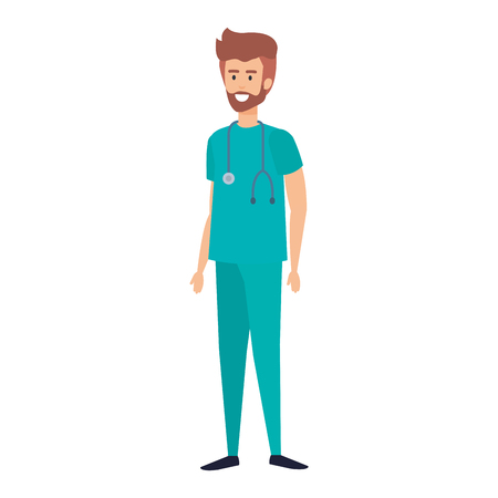 general practitioner with stethoscope character vector illustration design 일러스트