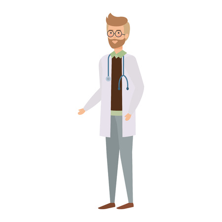 doctor with stethoscope character vector illustration design