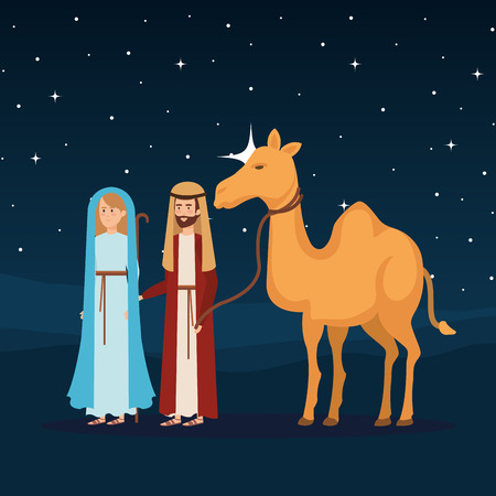 virgin mary and saint joseph with camel vector illustration design Banque d'images - 110316029