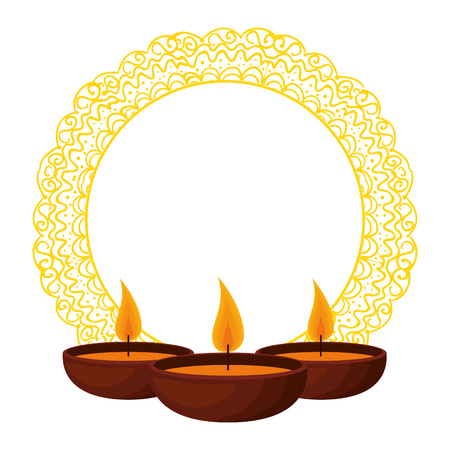 happy diwali card with candles and mandala vector illustration design