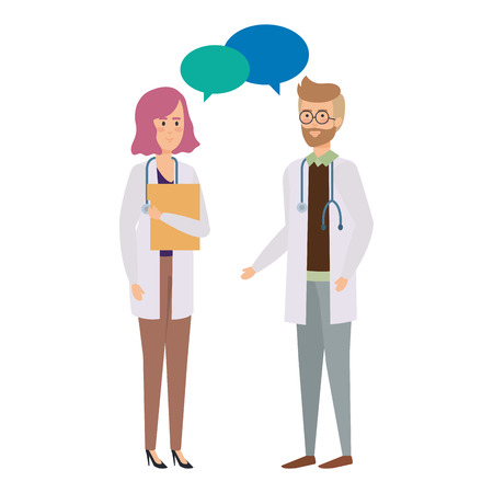doctors couple talking characters vector illustration design