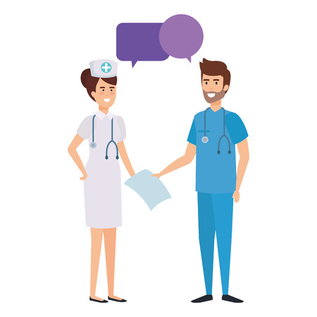 doctor and nurse talking characters vector illustration design