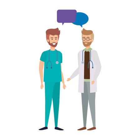 doctors talking avatars characters vector illustration design Illustration