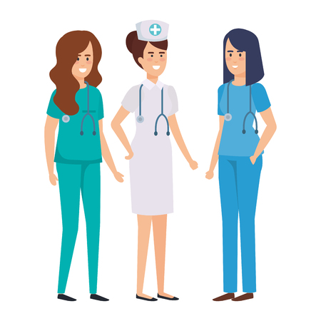 group of doctors with nurse vector illustration design Çizim