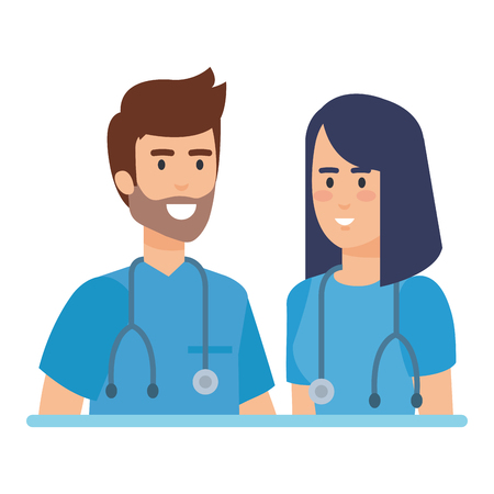 doctors couple with stethoscopes characters vector illustration design 向量圖像