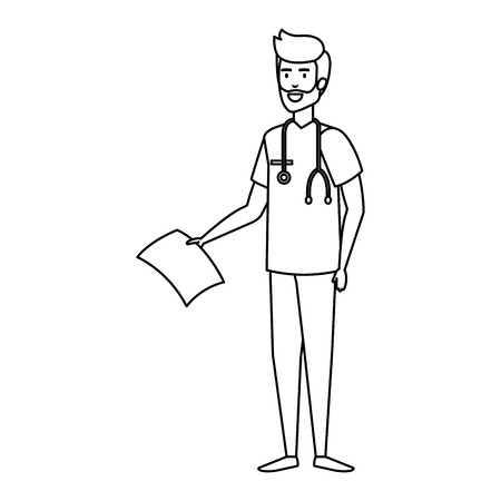 general practitioner with stethoscope character vector illustration design Illustration