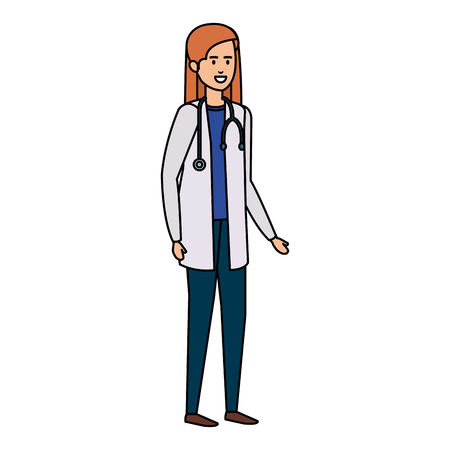 female doctor with stethoscope character vector illustration design