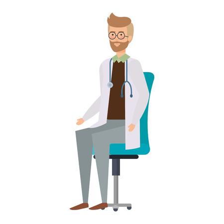 Arzt sitzt im Bürostuhl-Vektor-Illustration-Design