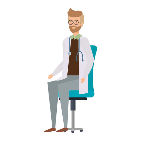 doctor sitting in office chair vector illustration design