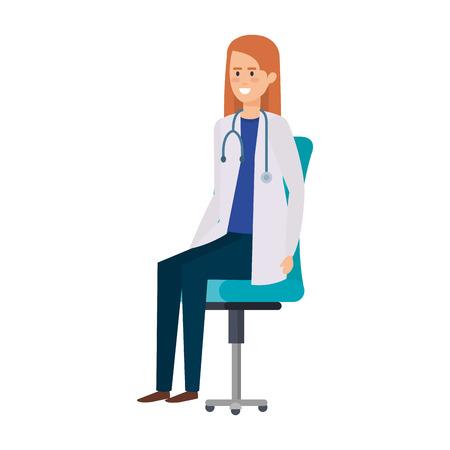 female doctor in office chair vector illustration design Ilustração