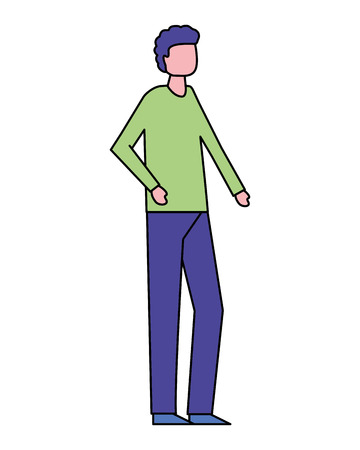 volunteers man walking color clothe vector illustration