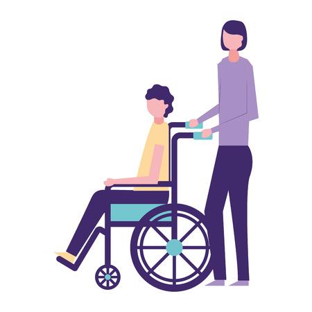volunteers help woman carry man in wheelchair vector illustration