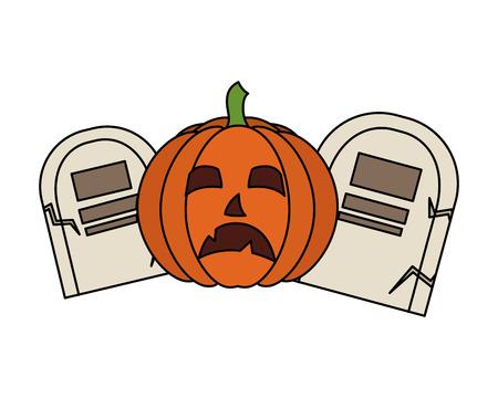 halloween day gravestones pumpkin creepy vector illustration Illustration