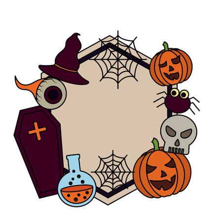 halloween day candys sticker spiderweb eye pumpkins skull potion vector illustration