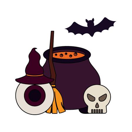 halloween day candys bat broom skull eye hat boiler vector illustration
