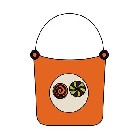 halloween day basket candys sweet vector illustration Illustration