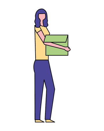 volunteers help woman carry hold box vector illustration