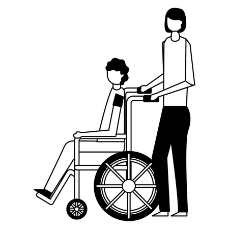 volunteers help girl carry person in the wheelchair vector illustration